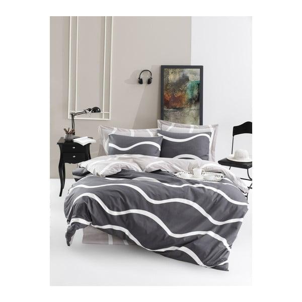Lenjerie de pat cu cearșaf din bumbac ranforce, pentru pat dublu Mijolnir Novia Grey, 200 x 220 cm
