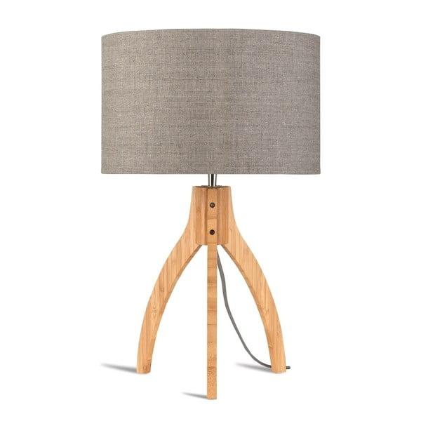 Stolní lampa s béžovým stínidlem a konstrukcí z bambusu Good&Mojo Annapurna