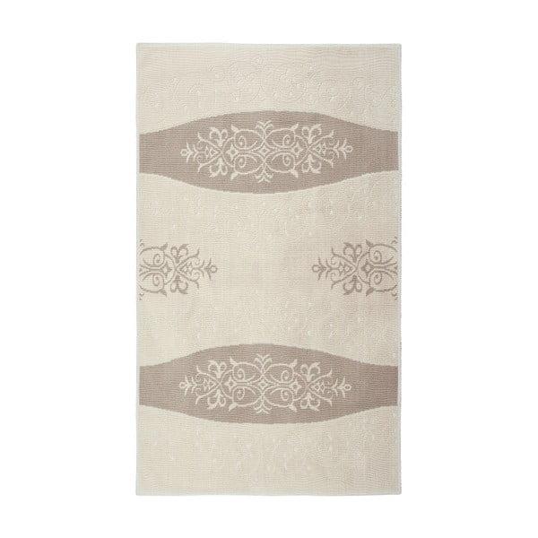 Krémový  bavlněný koberec Floorist Decor, 80x300cm