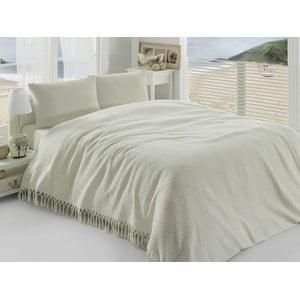Krémový lehký přehoz přes postel Pique, 220x240cm