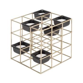 Sfeșnic din metal PT LIVING Structure Square, galben