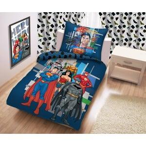 Modré bavlněné dětské povlečení Halantex Justice League, 140 x 200 cm