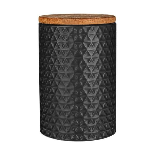 Czarny pojemnik z bambusowym wieczkiem Premier Housewares Black, 750 ml