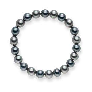Antracitovo-stříbrný perlový náramek Pearls of London Mystic, 19 cm