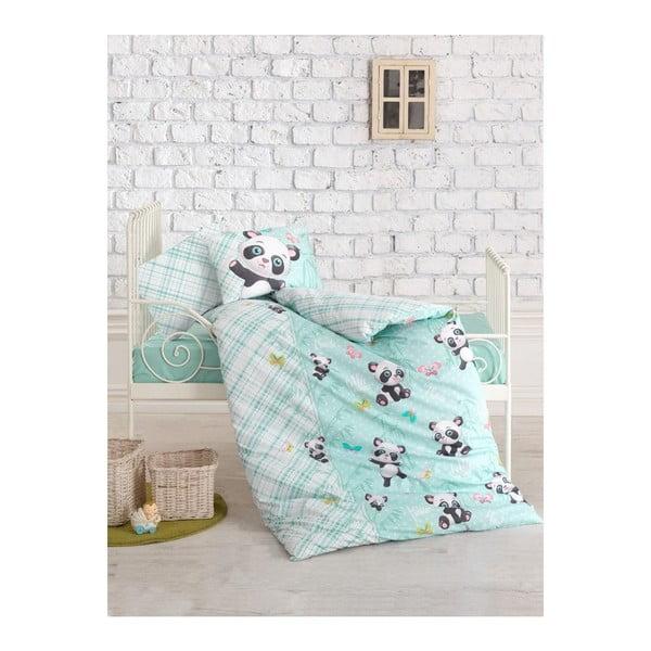 Lenjerie de pat cu cearșaf pentru copii Panda, 100 x 150 cm