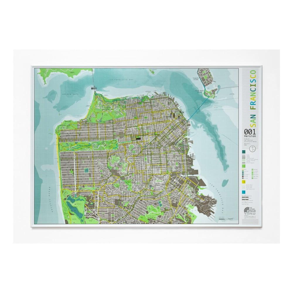 Zelená mapa San Francisca v průhledném pouzdru Street Map, 100 x 70 cm