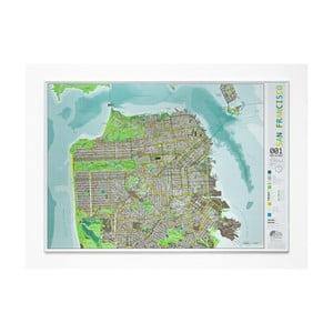 Zelená magnetická mapa San Francisca The Future Mapping Company Street Map, 100x70cm