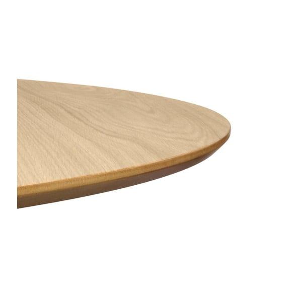 Jídelní stůl v dekoru dubového dřeva s pochromovaným podnožím TemaHome Row, ⌀ 120cm