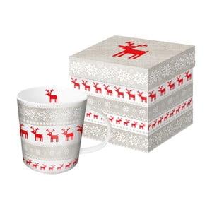 Hrnek z kostního porcelánu s vánočním motivem v dárkovém balení PPD Magic Christmas Taupe, 350 ml