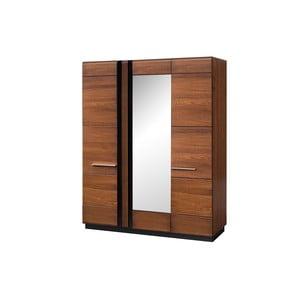 Třídveřová šatní skříň se zrcadlem Szynaka Meble Porti Dark Antique