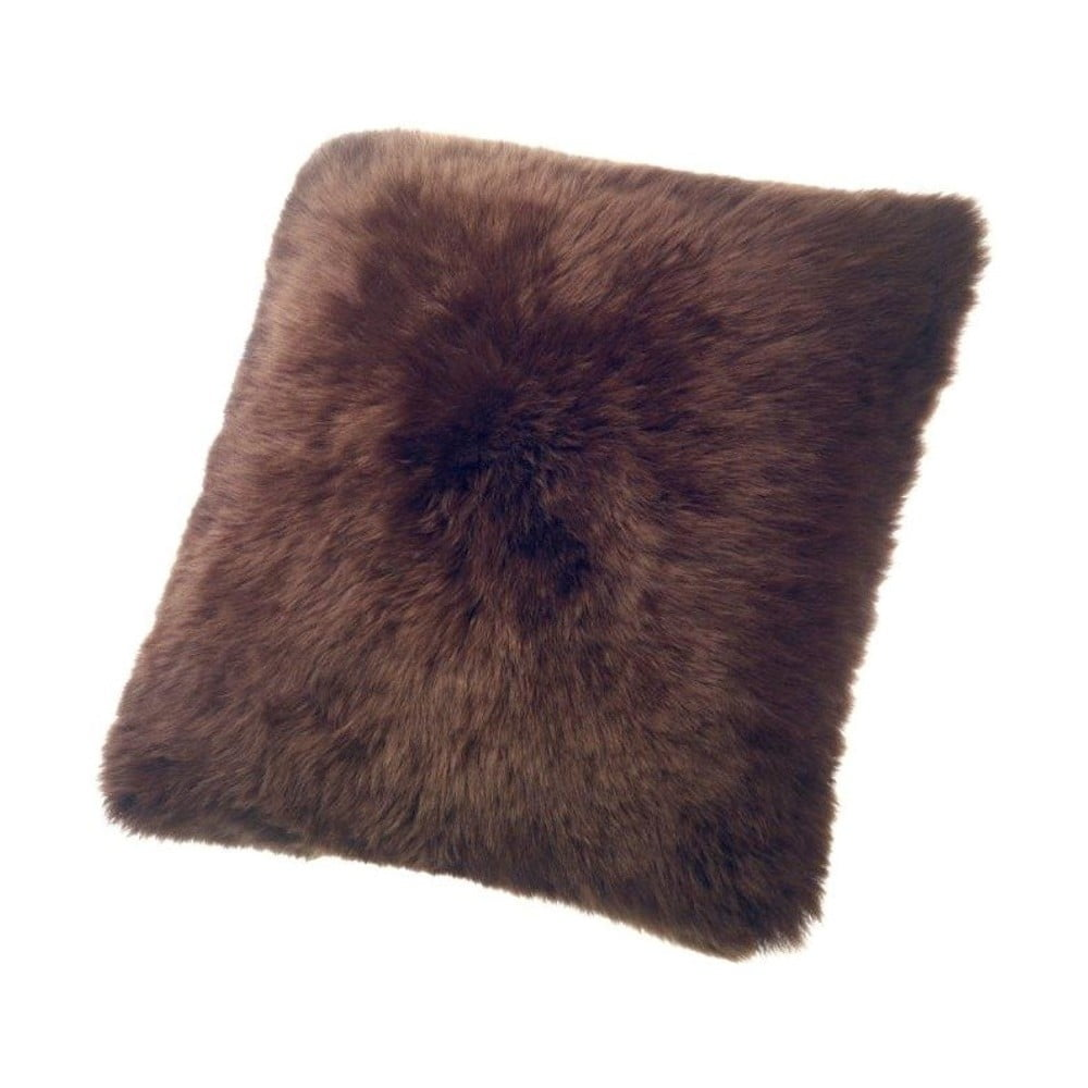 Hnědý vlněný polštář z ovčí kožešiny Auskin Duff, 50 x 50 cm