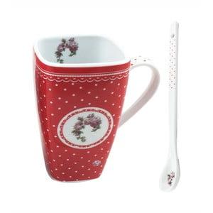 Červený porcelánový hrnek s lžičkou HOME ELEMENTS De Campagne Pois, 600 ml