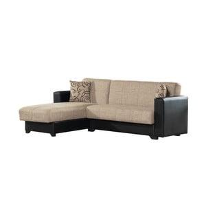 Canapea colț extensibilă cu spaţiu de depozitare, Esidra Chaise Longue, bej - negru