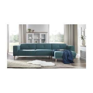 Canapea cu șezlong pe partea dreaptă și suport pentru picioare Bobochic Paris Luna, albastru