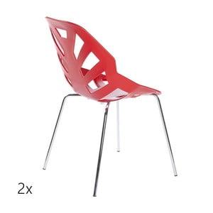 Set 2 červených židlí Ninja, chromové nohy