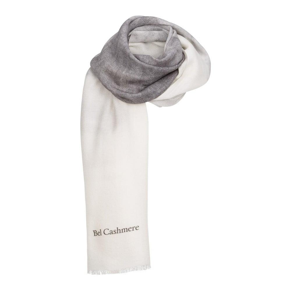 Bílošedá kašmírová šála Bel cashmere Nina, 200 x 67 cm