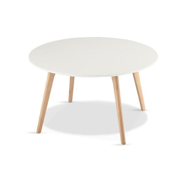 Bílý konferenční stolek s nohami z dubového dřeva Furnhouse Life, Ø80cm