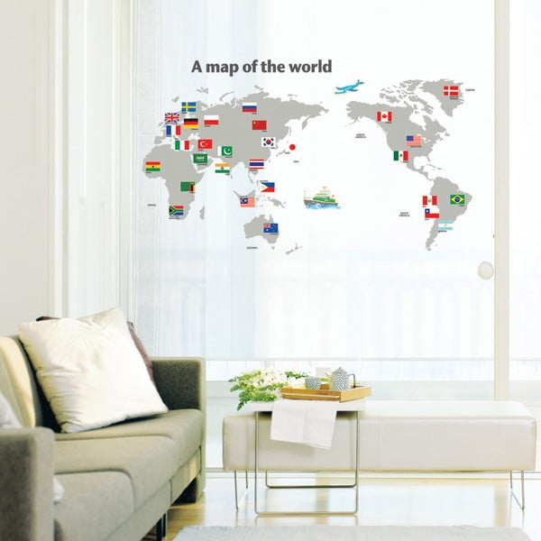 Samolepka World Map and Flags