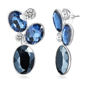 Dámské náušnice stříbrné barvy s modrými krystaly Runway
