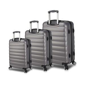 Sada 3 šedých cestovních kufrů na kolečkách s USB porty My Valice RESSO Travel Set