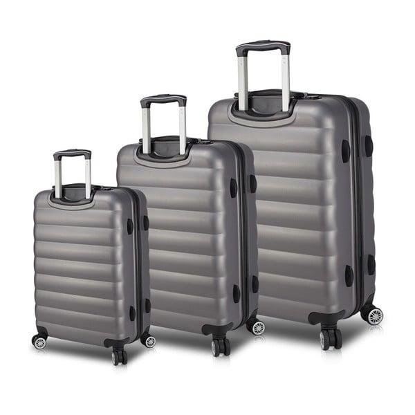 RESSO Travel Set 3 szürke görgős bőrönd USB csatlakozóval - My Valice