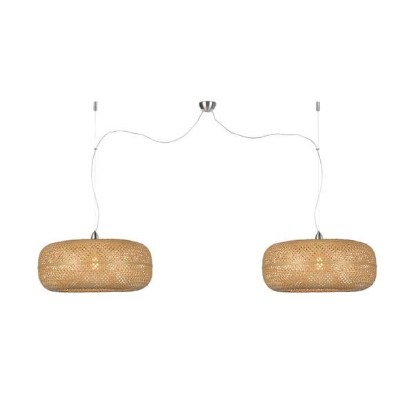 Hnedé bambusové dvojité závesné svietidlo Good&Mojo Palawan
