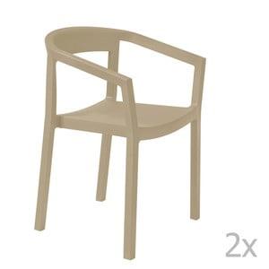 Sada 2 béžových zahradních židlí s područkami Resol Peach