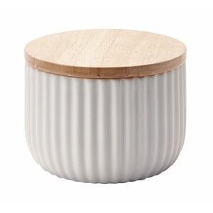Střední bílá dóza s víčkem z dubového dřeva Aquanova Ribba