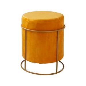 Žlutý čalouněný puf Native Stack, ⌀37 cm