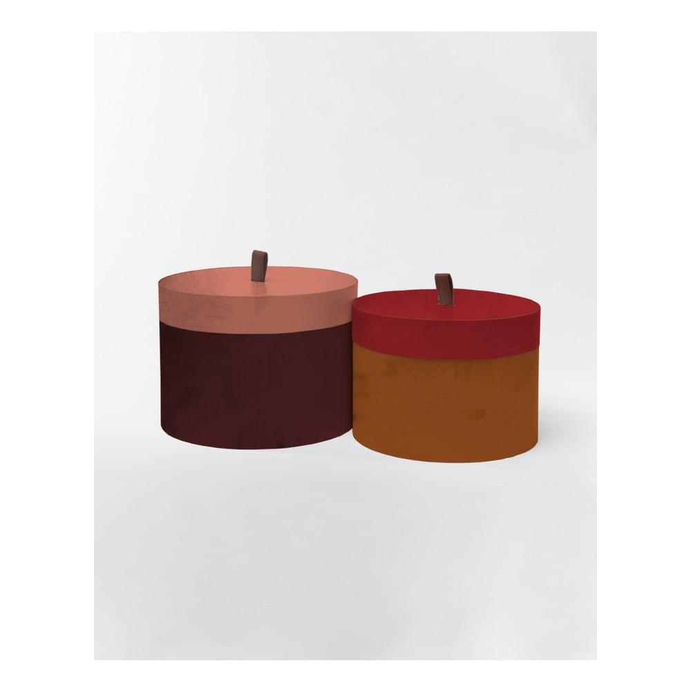 Sada 2 kulatých úložných boxů ze sametu Velvet Atelier Blocks