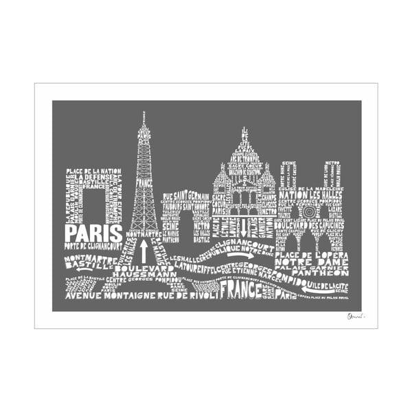 Plakát Paris Grey&White, 50x70 cm