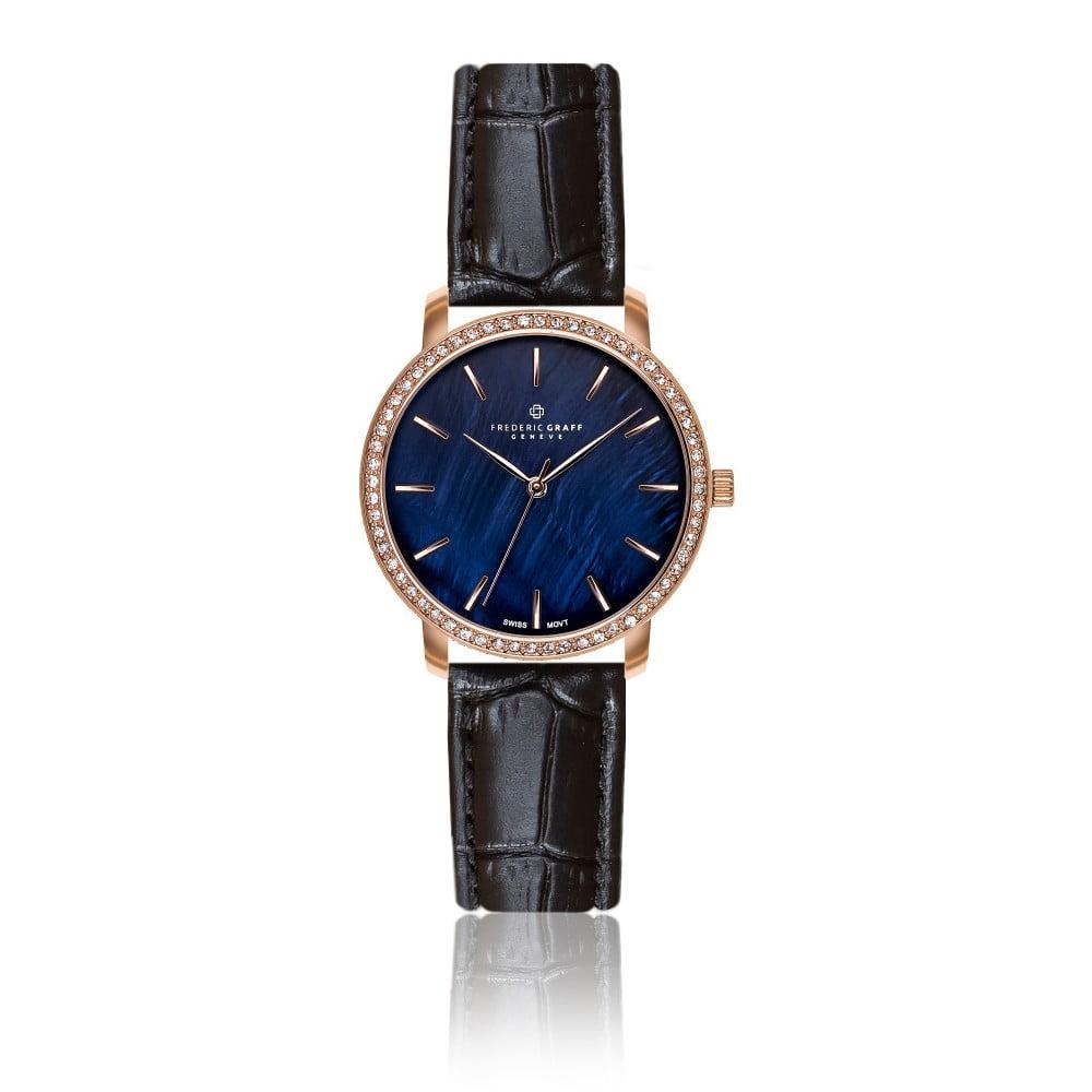 Dámské hodinky s černým páskem z pravé kůže Frederic Graff Croco Malessio