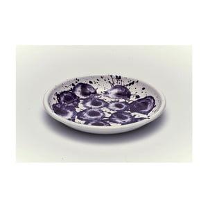 Fialovobílý smaltovaný talíř Kapka Floral Madness, Ø24,5cm