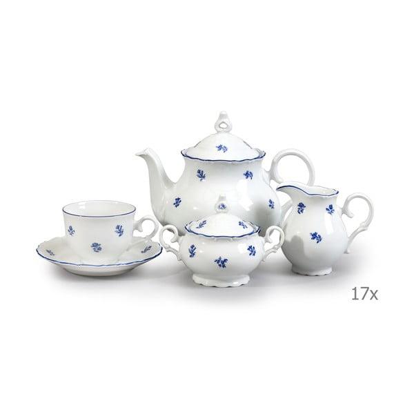Porcelánová sada na čaj s modrou kytičkou Thun Ophelia