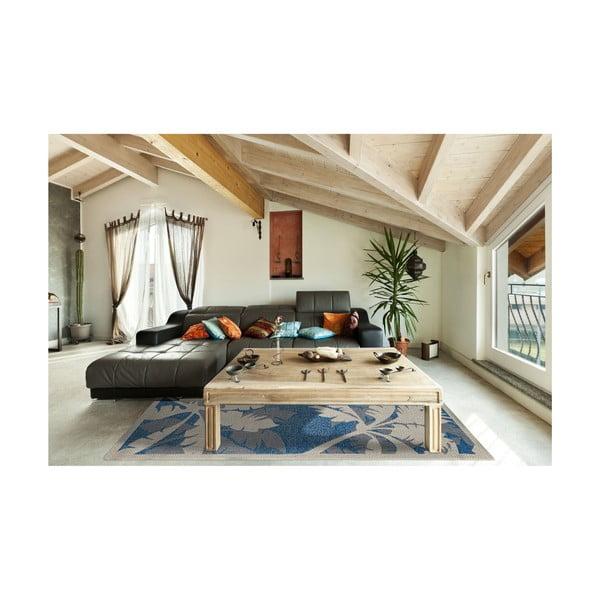Covor foarte rezistent Floorita Palms Blue, 135 x 190 cm, albastru