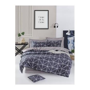 Lenjerie de pat cu cearșaf din bumbac ranforce, pentru pat dublu Mijolnir Gina Anthracite, 160 x 220 cm de la Mijolnir