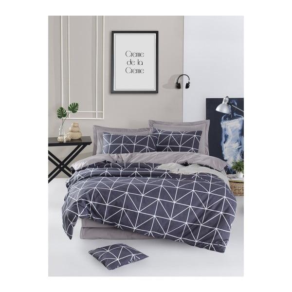 Lenjerie de pat cu cearșaf din bumbac ranforce, pentru pat dublu Mijolnir Gina Anthracite, 160 x 220 cm