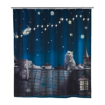 Perdea duș cu LED Wenko Led Moon, 180x200cm, albastru închis de la Wenko