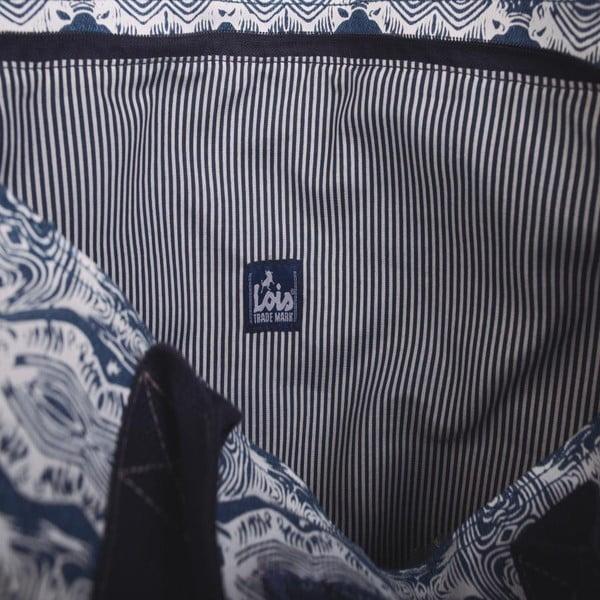 Bílo-modrá plátěná taška Lois Playera