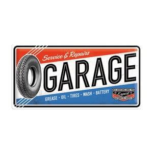 Plechová cedule Blue Red Garage, 25x50 cm