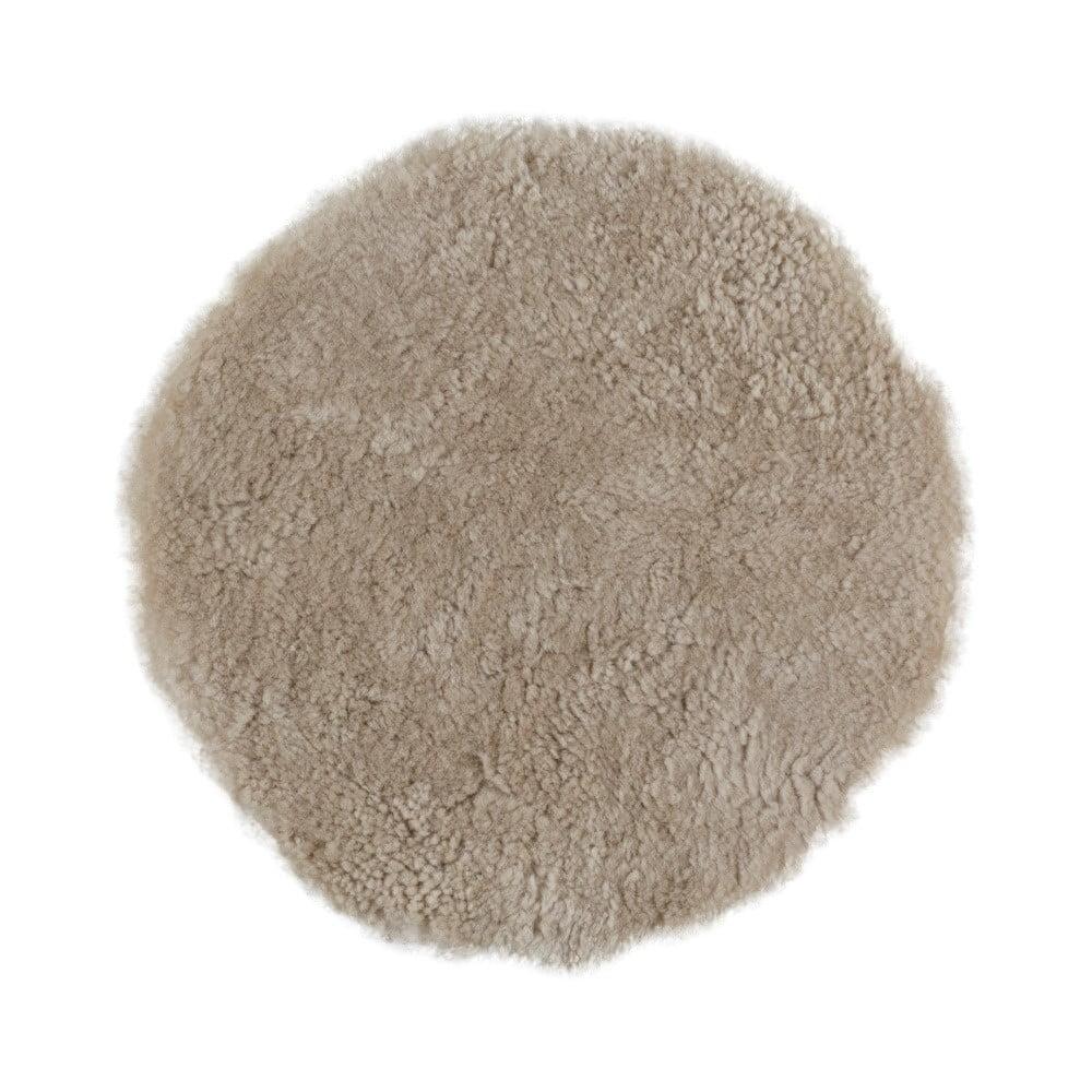 Béžový vlněný polštář z ovčí kožešiny Auskin Crooked, ∅ 35 cm