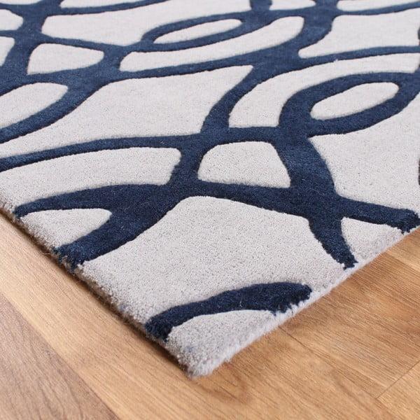 Vlněný koberec Wire Blue 160x230 cm