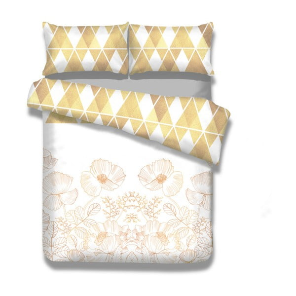 Flanelové posteľné obliečky AmeliaHome Golden Poppy, 135 x 200 cm
