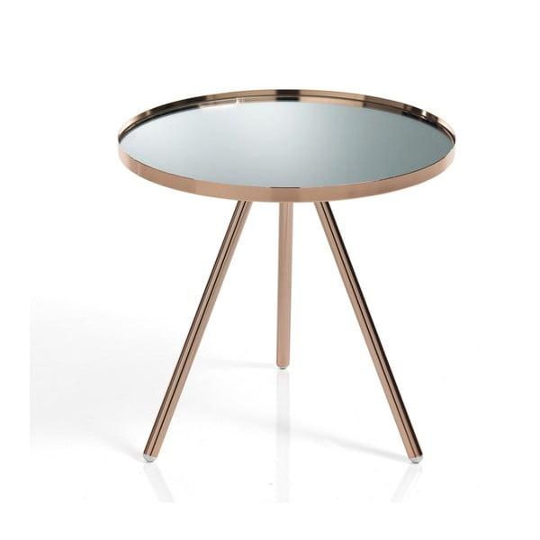 Odkládací stolek v měděné barvě a skleněnou deskou Tomasucci Spok Cooper, Ø42cm