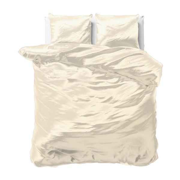 Beżowa pościel dwuosobowa z mikroperkalu satynowego Sleeptime, 200x220 cm