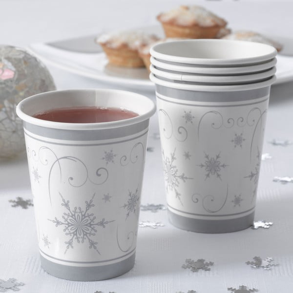 Set 8 pahare din hârtie Neviti Shimmering Snowflake
