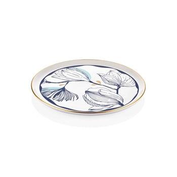 Farfurie din porțelan pentru servire cu model de flori albastre Mia Bleu, ⌀ 30 cm, alb