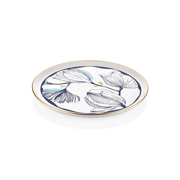 Bílý porcelánový servírovací talíř s modrými květy Mia Bleu, ⌀ 30 cm