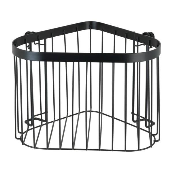 Černý nástěnný rohový košík Wenko Classic Plus