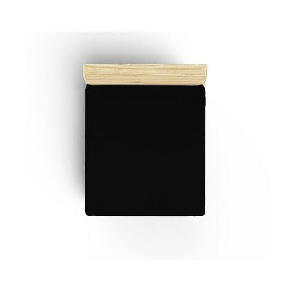 Czarne nieelastyczne bawełniane prześcieradło jednoosobowe Caresso, 90x190 cm